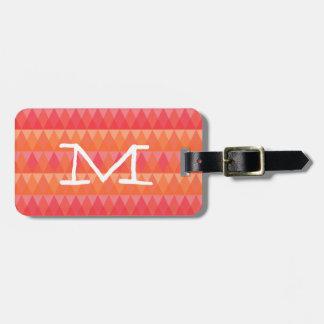 Modern Geometric Triangle Pattern Coral & Pink Art Luggage Tag