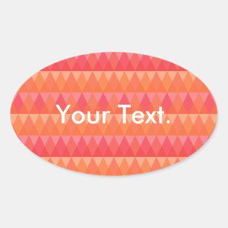 Modern Geometric Triangle Pattern Coral & Pink Art Oval Sticker