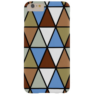 Modern Geometric Triangles, Brown Blue & Beige Barely There iPhone 6 Plus Case