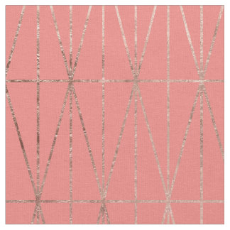 Modern geometric triangles faux rose gold coral fabric