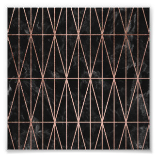 Modern geometric triangles rose gold black marble photo print