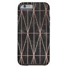 Modern geometric triangles rose gold black marble tough iPhone 6 case
