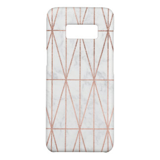 Modern geometric triangles rose gold white marble Case-Mate samsung galaxy s8 case