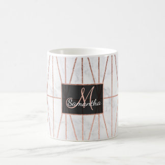 Modern geometric triangles rose gold white marble coffee mug