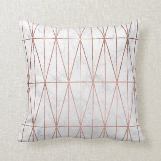 Modern geometric triangles rose gold white marble cushion