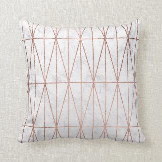Modern geometric triangles rose gold white marble cushion