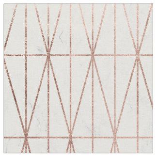 Modern geometric triangles rose gold white marble fabric