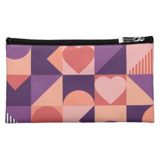 Modern geometric valentine pattern makeup bag