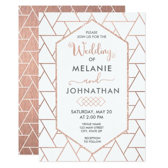Modern Geometric Wedding Invitation, Rose Gold Card