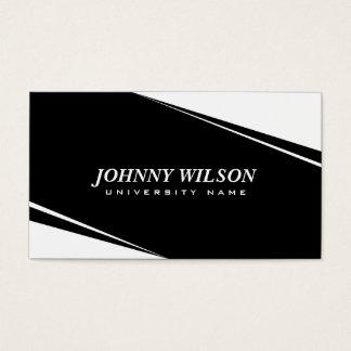 Modern Geometric White & Black Graduate Student Business Card