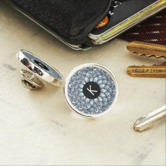 Modern Geometric White Diamonds Mandala Monogram Lapel Pin