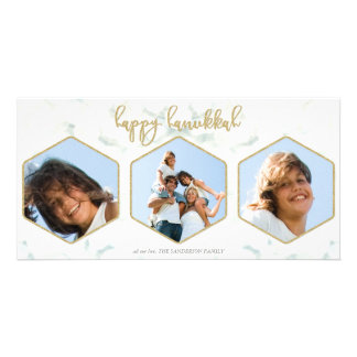 Modern Geometric White+Gold Happy Hannukah Triple Card