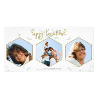 Modern Geometric White+Gold Happy Hannukah Triple Photo Greeting Card