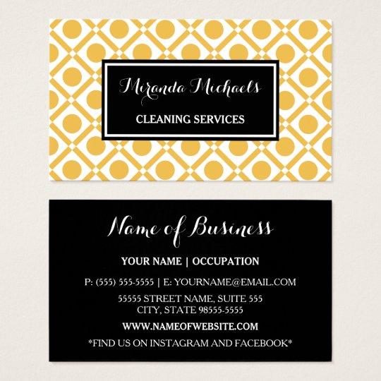 Modern Geometric Yellow and Black Cleaning Service Business