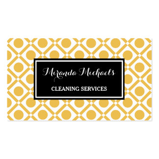 Modern Geometric Yellow and Black Cleaning Service Pack Of Standard Business Cards