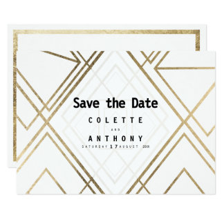 Modern geometrical white faux  gold Save The Date Card
