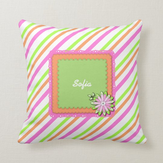 Modern Girl Boho Floral Personalised Custom Name Cushion