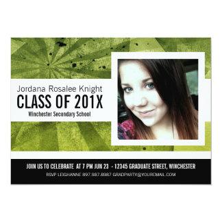 Modern Girl Grad Green and Black Photo 14 Cm X 19 Cm Invitation Card