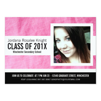 Modern Girl Grad Pink and Black Photo 14 Cm X 19 Cm Invitation Card