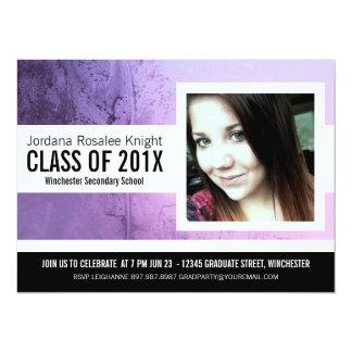 Modern Girl Grad Purple and Black Photo 14 Cm X 19 Cm Invitation Card
