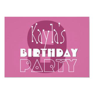 "Modern Girls 9th Birthday Pink Stars Ver 002 W679 5"" X 7"" Invitation Card"