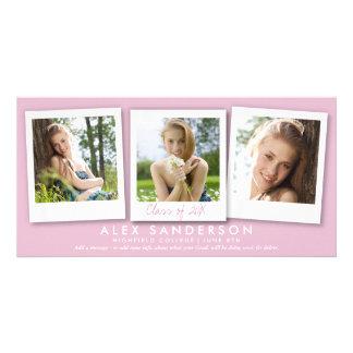 Modern Girls Pink 3 Photo Graduation Announcement Custom Photo Card