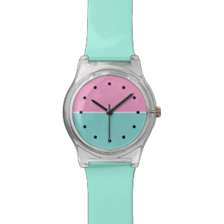 Modern Girls Turquoise And Pink Wristwatch