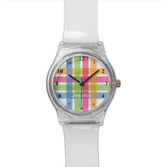 Modern girls watch with colourful pastel stripes