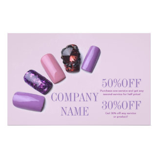 modern girly beauty salon purple nail artist flyers