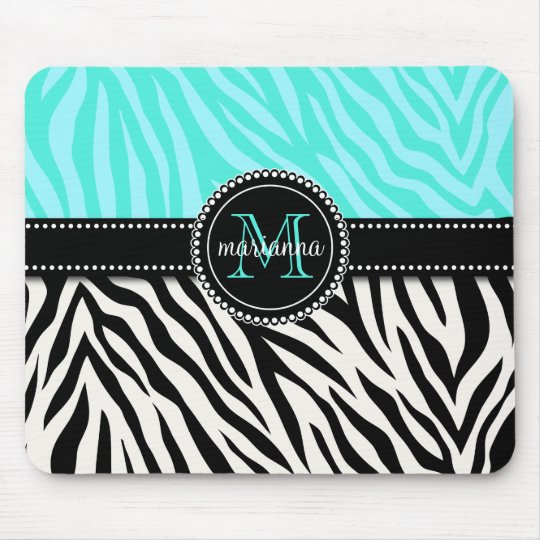 Modern Girly Black Aqua Zebra Print Personalised Mouse