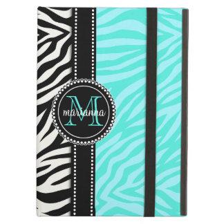 Modern Girly Black Aqua Zebra Print Personalized iPad Air Cover
