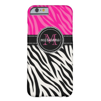 Modern Girly Black Pink Zebra Personalized Barely There iPhone 6 Case