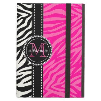 Modern Girly Black Pink Zebra Print Personalized iPad Air Case