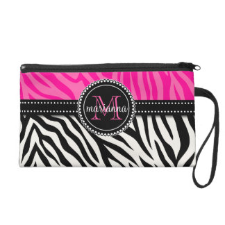 Modern Girly Black Pink Zebra Print Personalized Wristlet Clutches