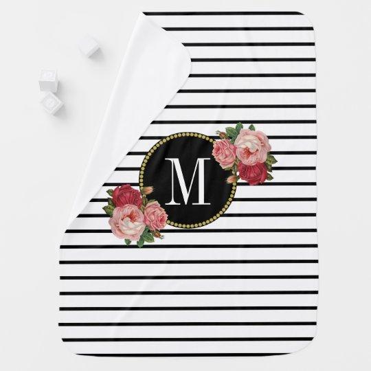 Modern Girly Black White Striped Floral Monogram Baby Blanket