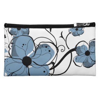 Modern Girly Blue and Black Flowers Cosmetic Bags