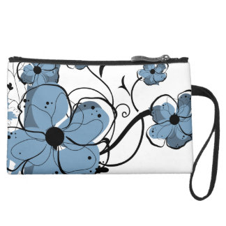 Modern Girly Blue and Black Flowers Wristlet