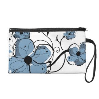 Modern Girly Blue and Black Flowers Wristlet