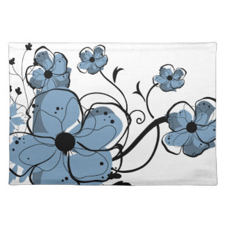 Modern Girly Blue and Black Flowers Placemat