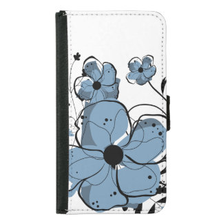 Modern Girly Blue and Black Flowers Samsung Galaxy S5 Wallet Case