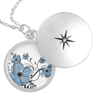 Modern Girly Blue and Black Flowers Silver Plated Necklace