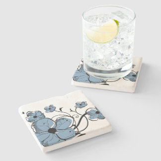 Modern Girly Blue and Black Flowers Stone Coaster