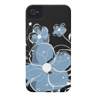 Modern Girly Blue and White Flowers Case-Mate iPhone 4 Case