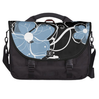 Modern Girly Blue and White Flowers Bag For Laptop