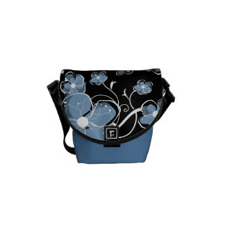 Modern Girly Blue and White Flowers Courier Bag