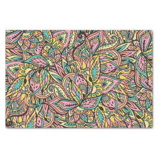 Modern girly boho botanical floral paisley pattern tissue