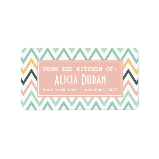 Modern Girly Chevron Personalised Homemade Product Label