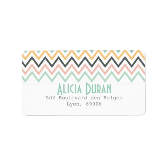 Modern Girly Chevron Zigzag Personalised Address Label