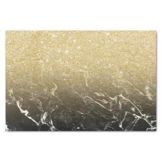 Modern girly faux gold glitter marble pattern tissue paper