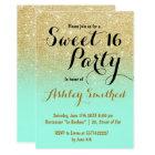 Modern girly faux gold glitter mint green Sweet 16 Card